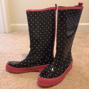J.Crew Wellies rain boots, size 8, polka dot
